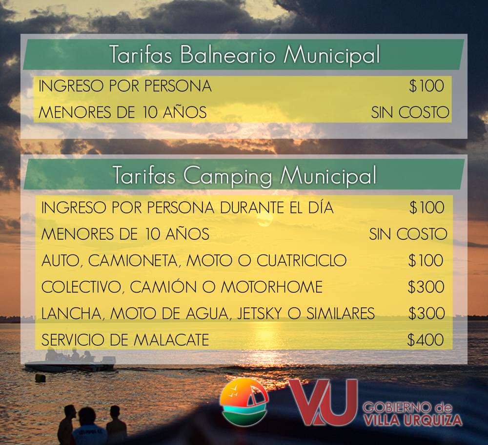 precios ingreso playa y camping en villa urquiza entre rios